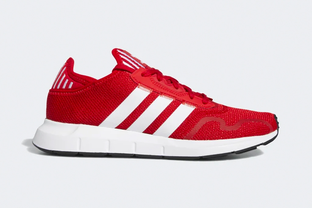 adidas, swift run sneakers, red, shoes