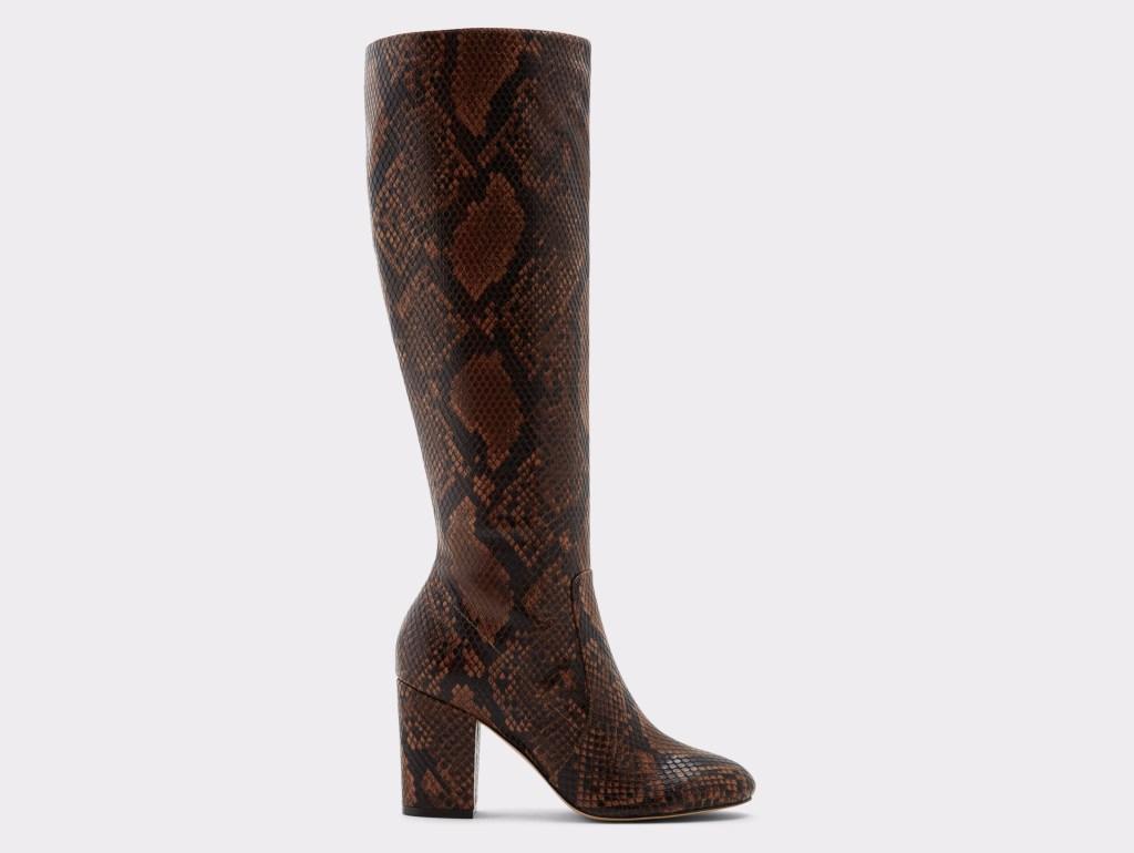boots, snakeskin, brown, knee-high, heeled, aldo