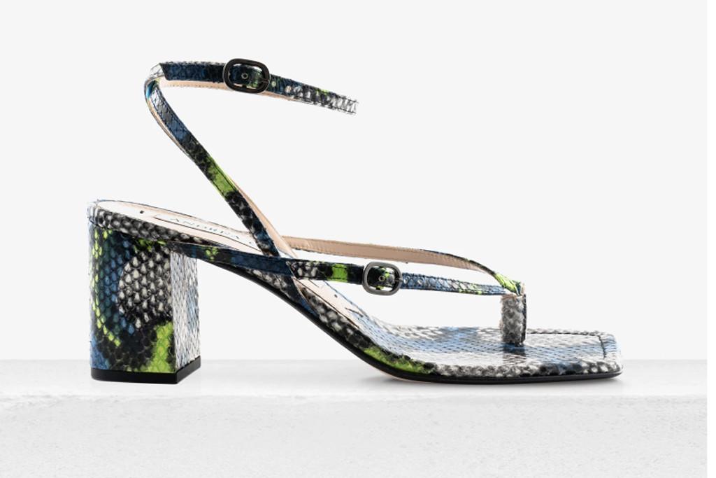 andrea gomez shoes, iris heel, flip flop thong heel