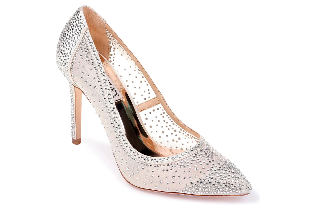 pvc pumps, heels, studded, see through, badgley mischka