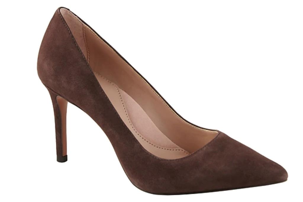brown suede, pumps, suede, heels, banana republic
