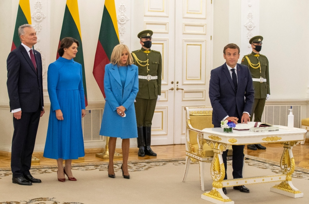 brigitte macron, blue dress, coat, heels, louis vuitton, style, shoes, president, first lady, france, lithuania