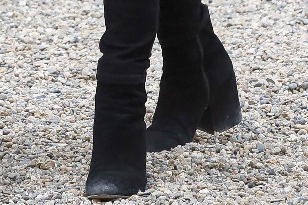 brigitte macron, style, jeans, jacket, shirt, boots, france, heels
