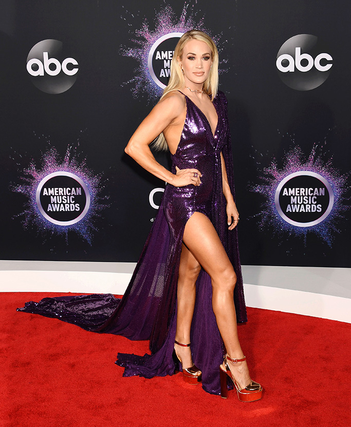 LOS ANGELES, CA - NOVEMBER 24: 2019 American Music Awards at Microsoft Theater on November 24, 2019 in Los Angeles, California. 24 Nov 2019 Pictured: Carrie Underwood. Photo credit: Jeffrey Mayer/JTMPhotos, Int'l. / MEGA TheMegaAgency.com +1 888 505 6342 (Mega Agency TagID: MEGA556128_003.jpg) [Photo via Mega Agency]