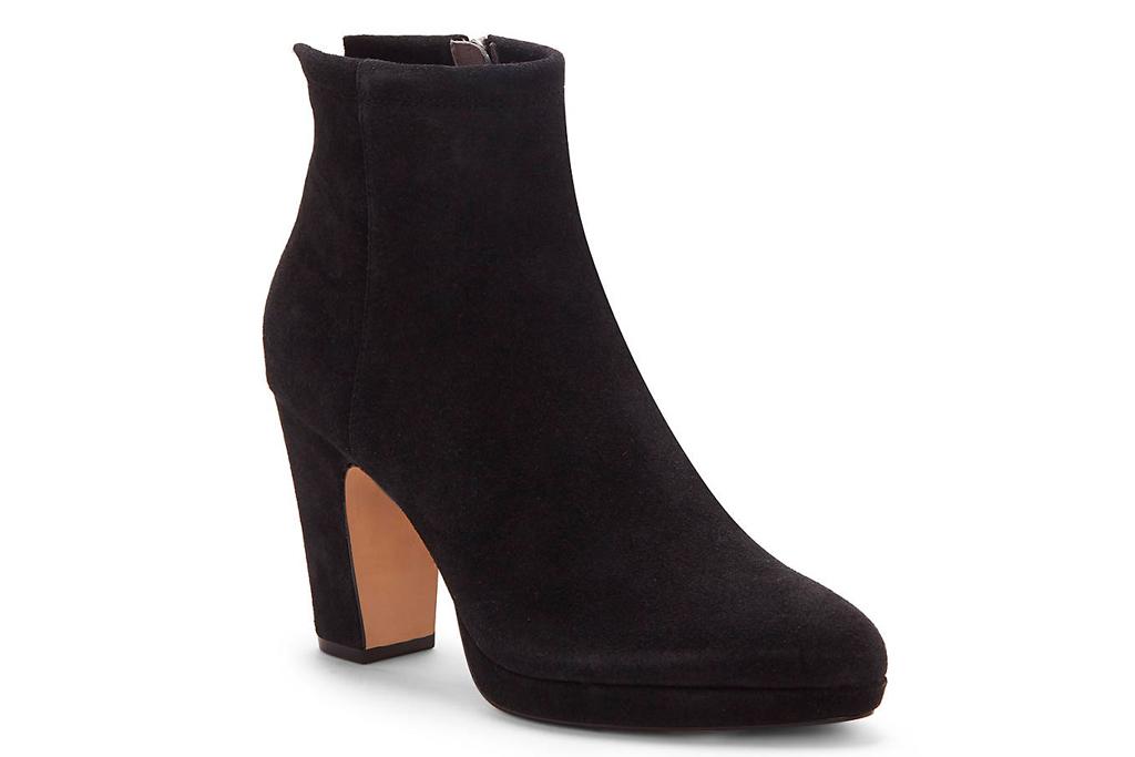 black boots, booties, suede, block heel, cc corso