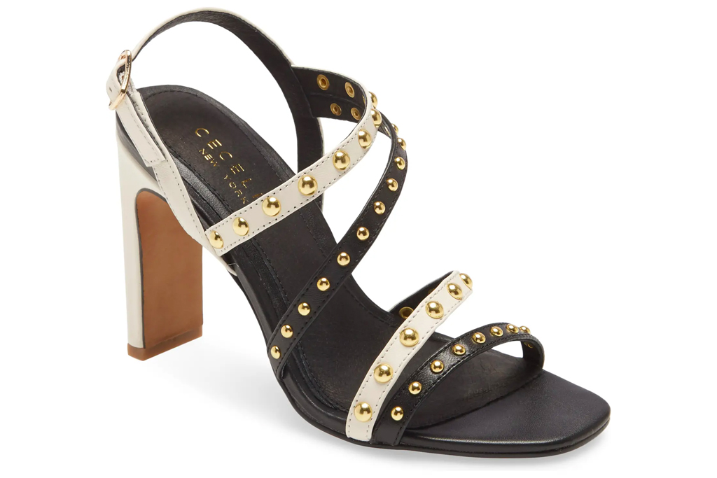 sandals, shoes, heels, black, nude, studded, cecelia