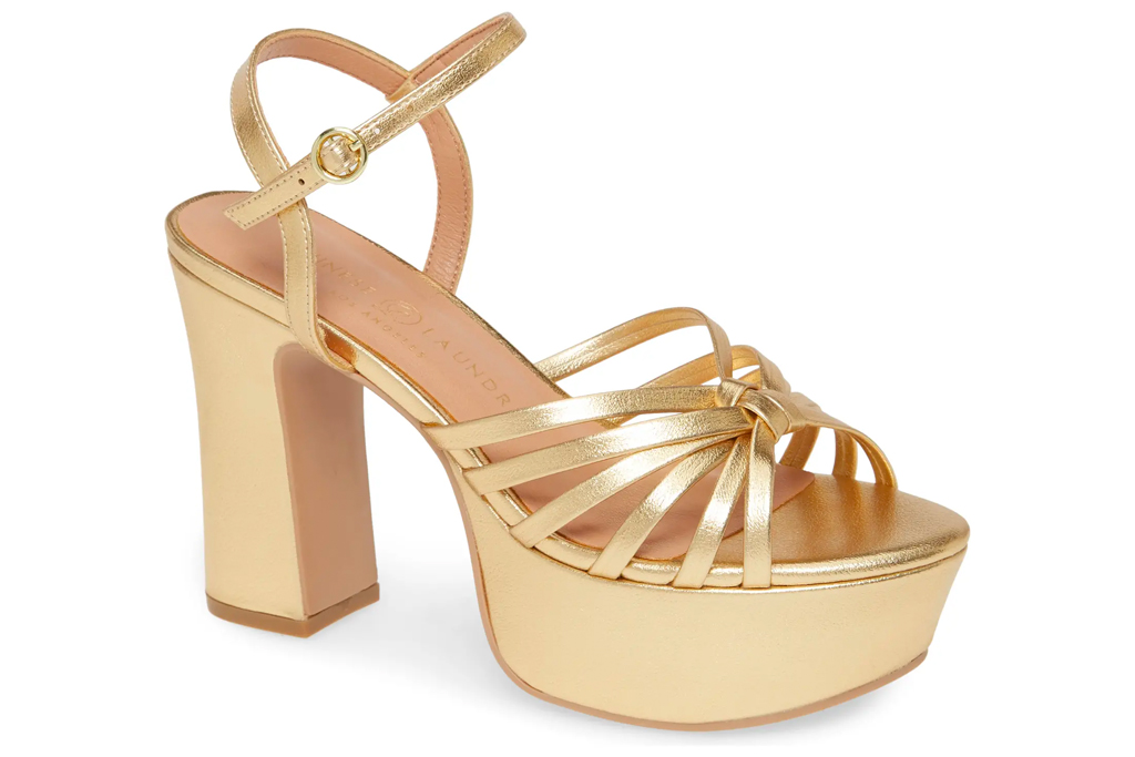 chinese laundry, gold sandals, platform
