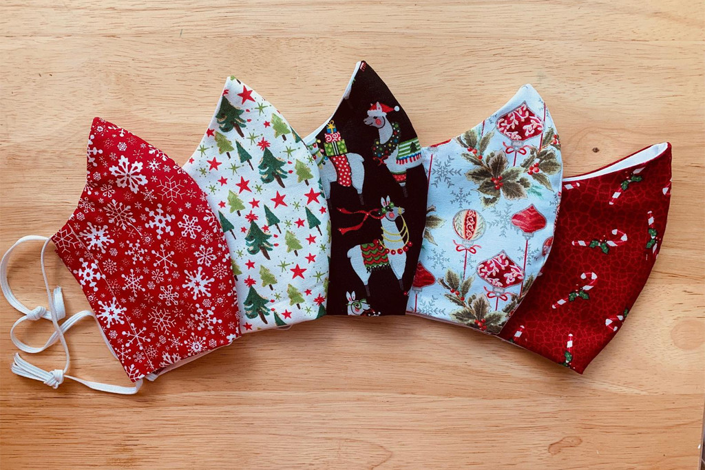 christmas face masks, holiday face masks, etsy face masks