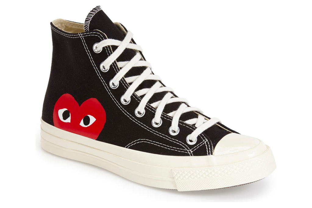 sneakers, white, red, black, comme des garcons, converse