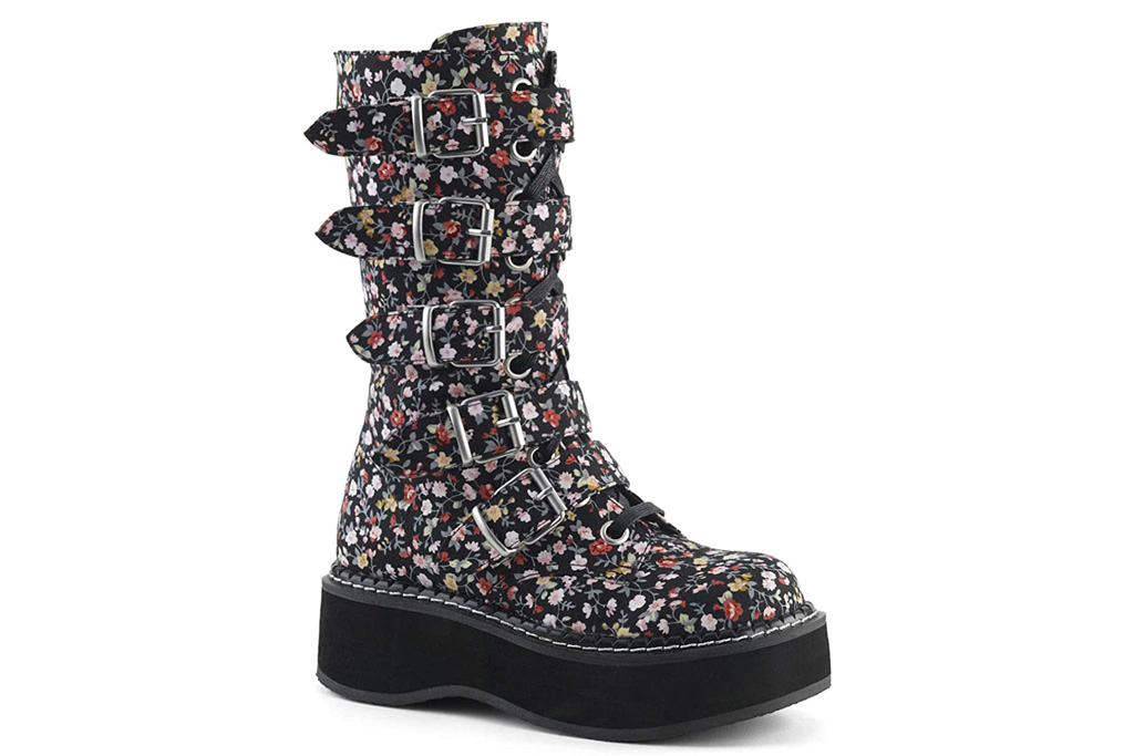 floral boots, combat boots, flowers, demonia