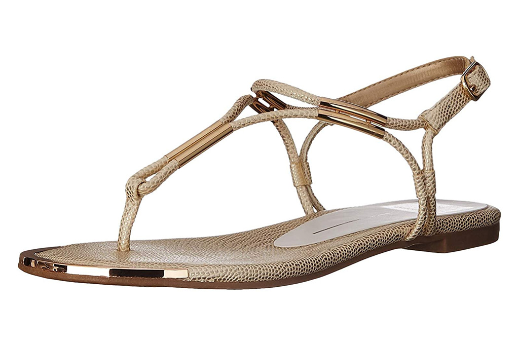 gold sandals, t strap, thong toe, gold, dolce vita