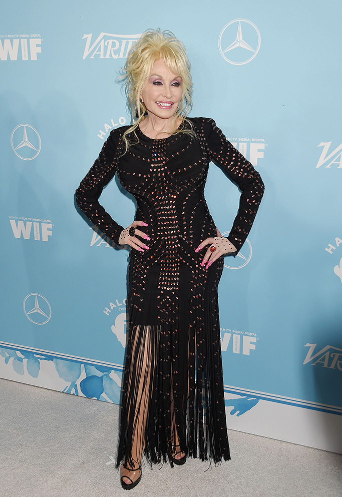 WEST HOLLYWOOD, CA - SEPTEMBER 15: Singer-songwriter-actress Dolly Parton arrives at the Variety And Women In Film's 2017 Pre-Emmy Celebration at Gracias Madre on September 15, 2017 in West Hollywood, California. 15 Sep 2017 Pictured: WEST HOLLYWOOD, CA - SEPTEMBER 15: Singer-songwriter-actress Dolly Parton arrives at the Variety And Women In Film's 2017 Pre-Emmy Celebration at Gracias Madre on September 15, 2017 in West Hollywood, California. Photo credit: Jeffrey Mayer / MEGA TheMegaAgency.com +1 888 505 6342 (Mega Agency TagID: MEGA97035_001.jpg) [Photo via Mega Agency]