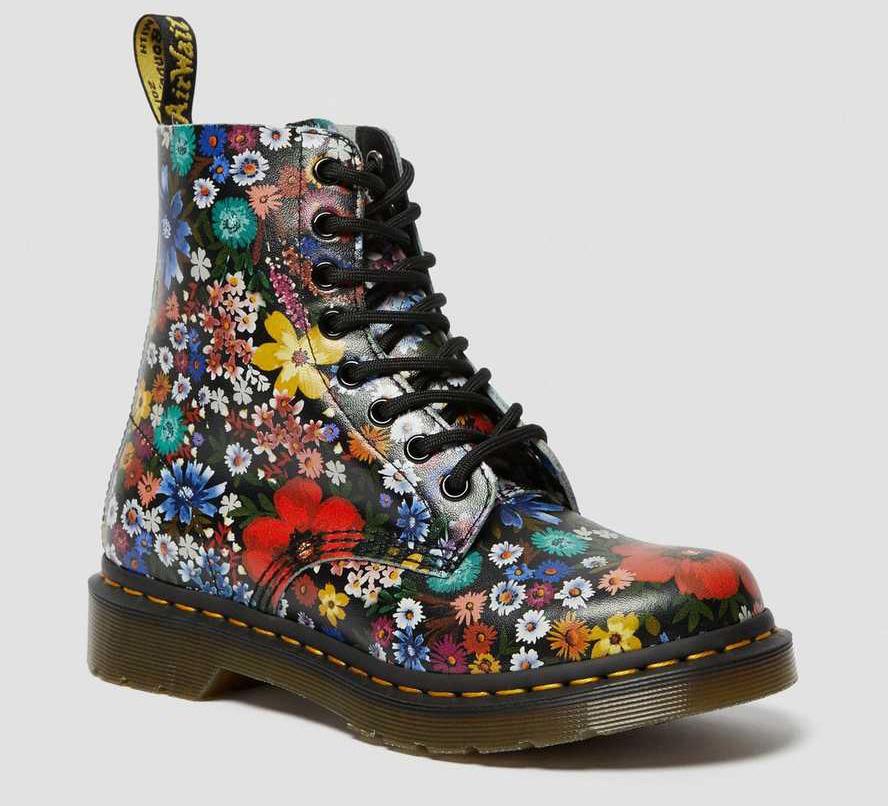 dr martens, floral boots, combat boots, flowers
