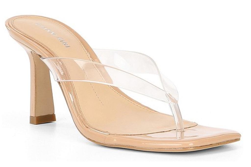 thong sandals, heels, clear, thong, see through