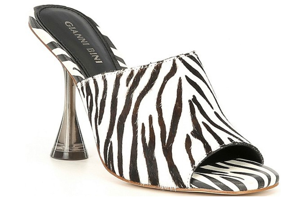 sandals, heels, animal print, black white, cheetah, zebra