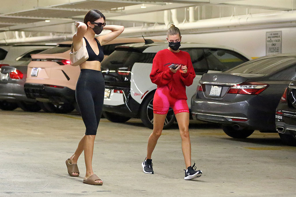Hailey Baldwin & Kendall Jenner go grocery shopping and Baldwin is wearing Supreme x Comme des Garcons and Kith x Misbhv.