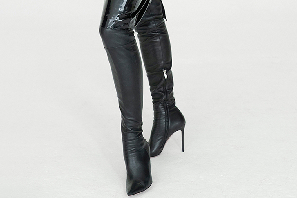 irina shayk, nicole benisti, boots, thigh-high boots, bralette, bra, jacket, skirt, style