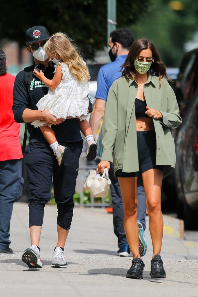 irina shayk, crop top, biker shorts, sneakers, fendi, bradley cooper, adidas, sneakers, daughter, lea, new york