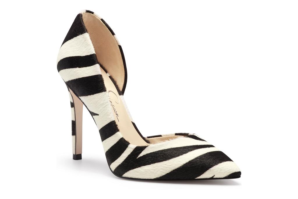 pumps, black, white, stripe, zebra, jessica simpson