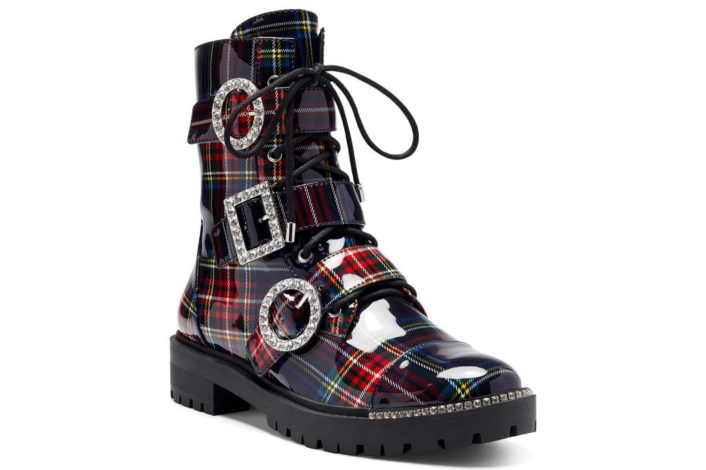 jessica simpson, plaid, boots, lace up, combat
