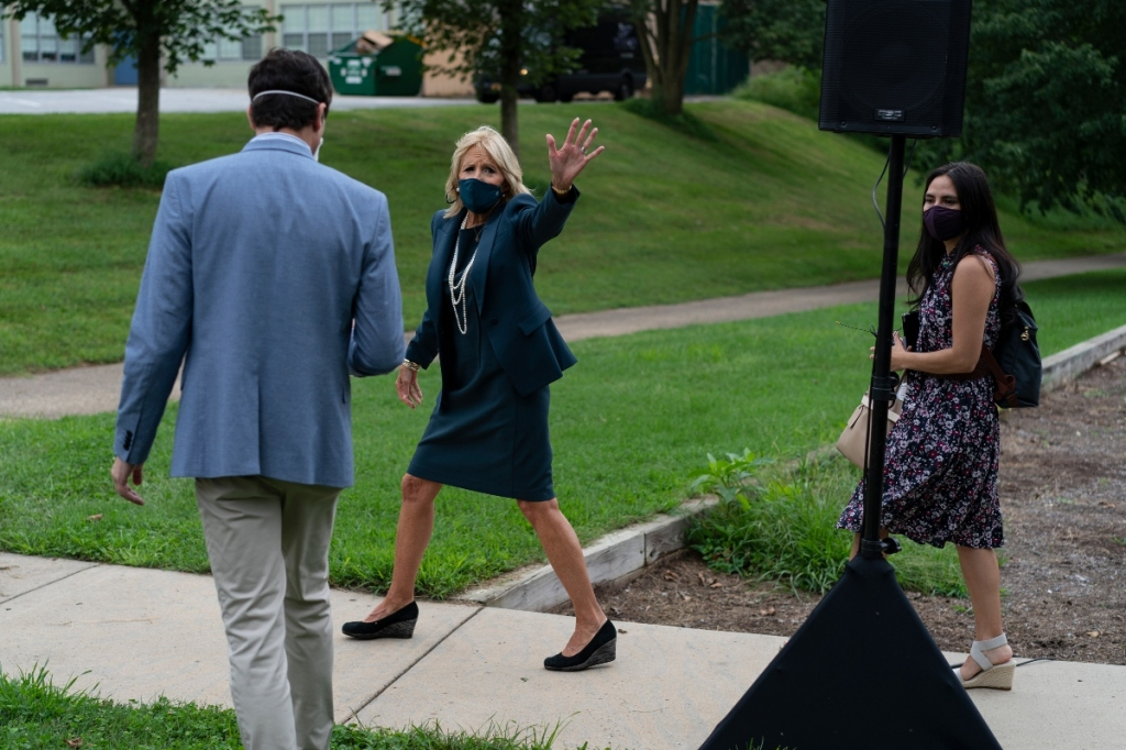 jill biden, skirt, suit, blazer, dress, heels, necklace, wedges, back to school, school, delaware