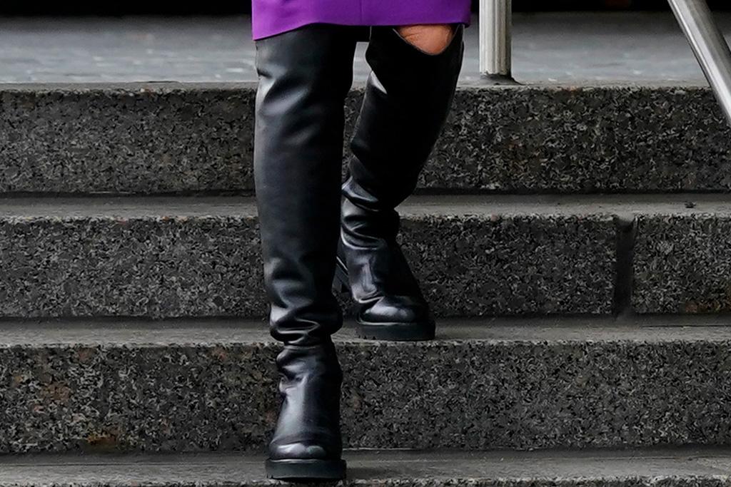 jill biden, joe biden, dress, purple, blazer, boots, vote, stuart weitzman, style
