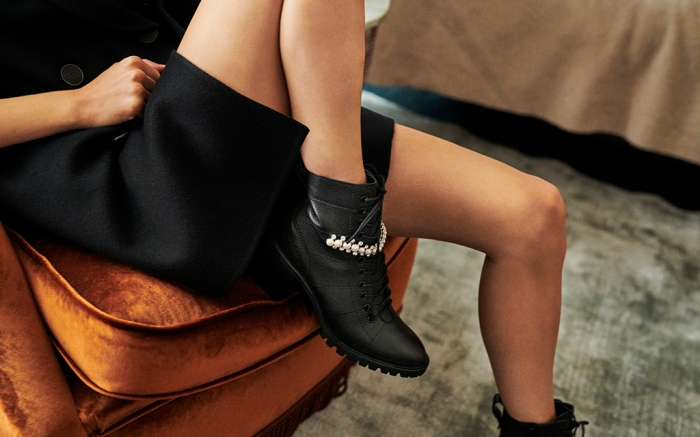 A shot of actress Daisy Edgar-Jones' shoes for Jimmy Choo's fall '20 ad campaign.