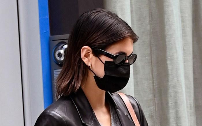 kaia-gerber-leather-blazer-biker-shorts-new-balance