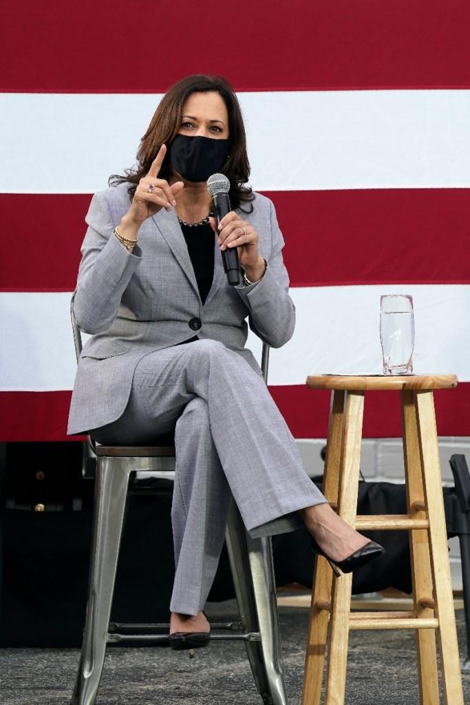 kamala harris, style, suit, shirt, pants, heels, mask, style