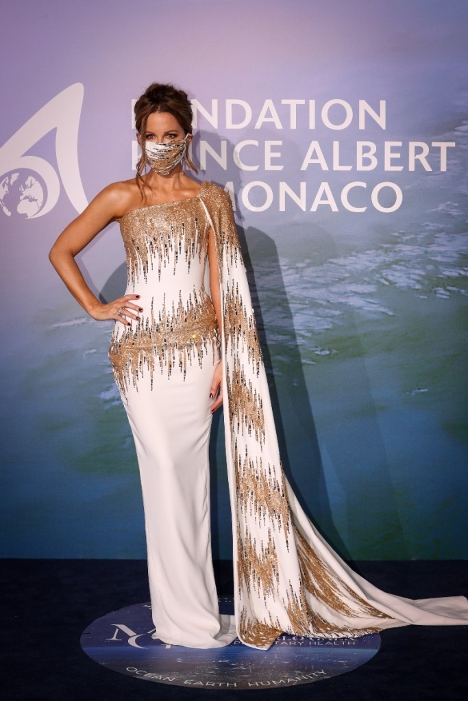 kate beckinsale, dress, gown, monte carlo, monaco, event, gold, white, jimmy choo, 2020