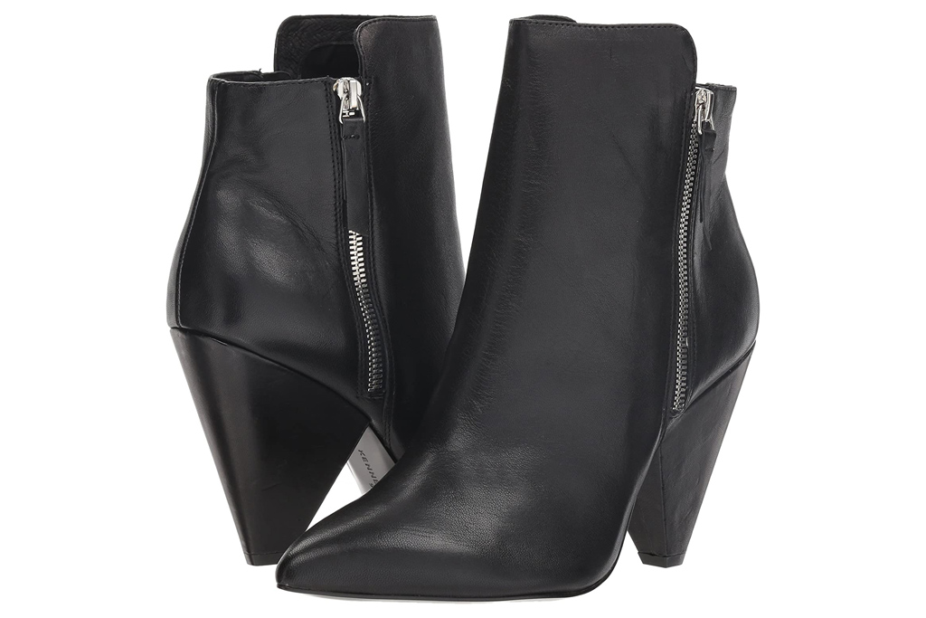 black boots, booties, cone heel, kenneth cole