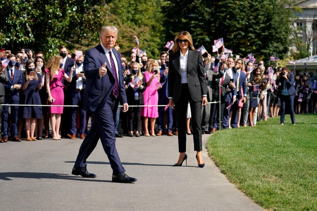 donald trump, melania, president, debates, joe biden, shoes, suit, pinstripes, sunglasses, style
