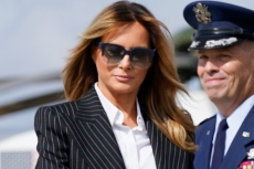 Melania Trump Is Ready for First Presidential Debate In Pinstripe Suit & Navy Pumps