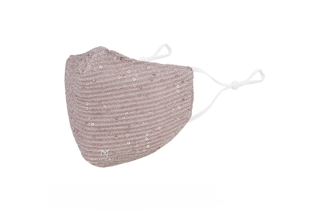 natalie mills face mask, sequin face mask, breast cancer awareness face mask