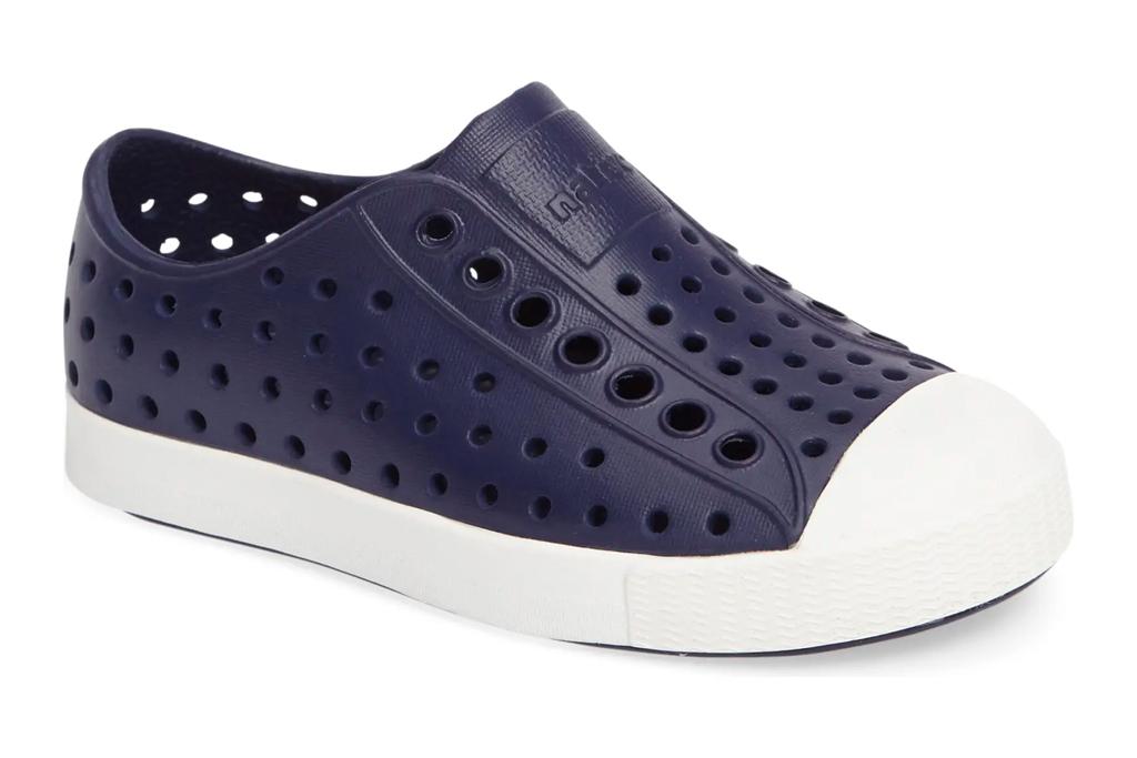 kids shoes, slip on, blue, laceless, native shoes