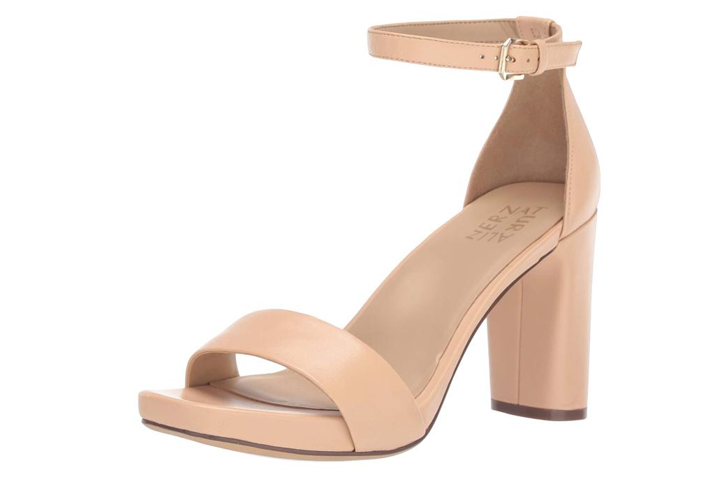 nude sandals, sandals, block heel, naturalizer