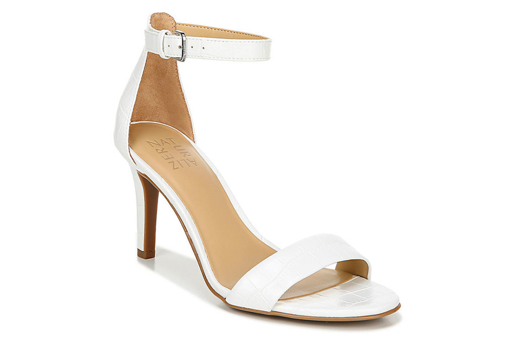white heels, sandals, thin strap, stiletto, new york and co