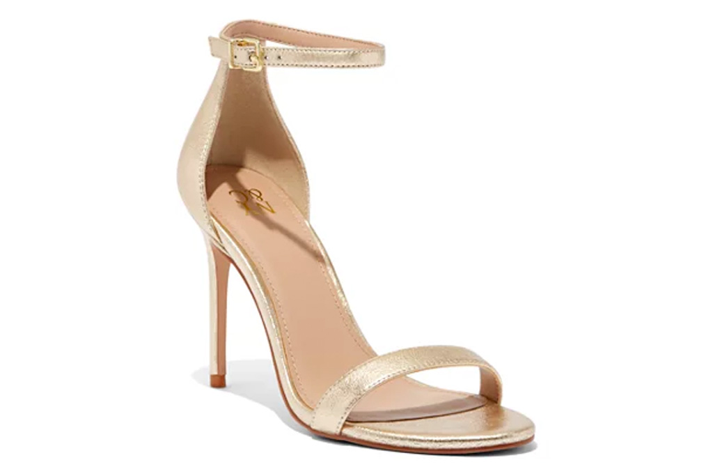 gold sandals, stiletto, gold, heels, new york and co