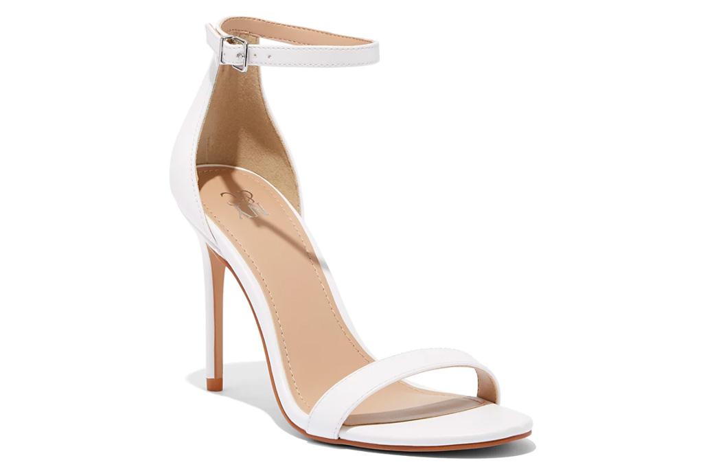 white heels, sandals, thin strap, stiletto, naturalizer