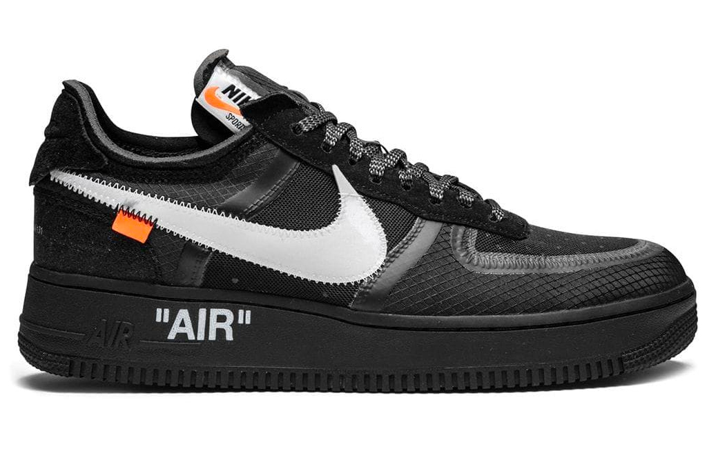 nike, off-white, air force 1, sneakers, black