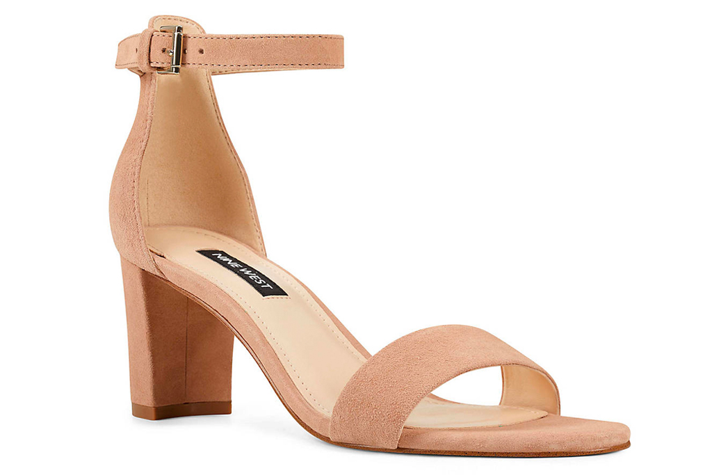 nude sandals, sandals, block heel, nine west