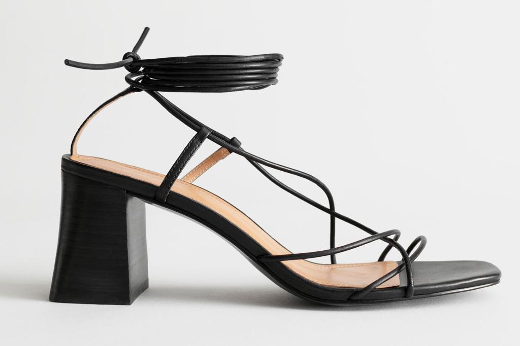 sandals, black, strappy, block heel, other stories