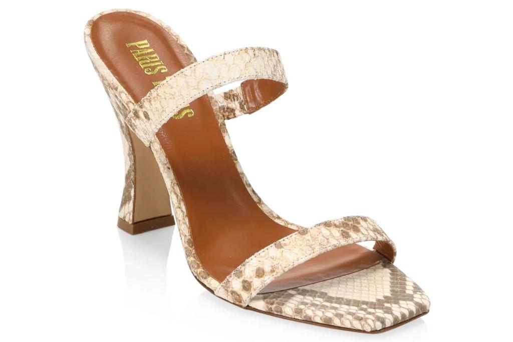 snakeskin sandals, sandals, mules, straps, python, paris texas