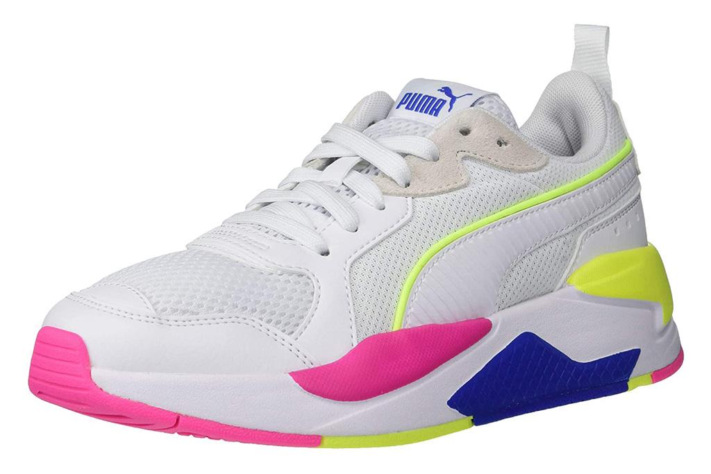 sneakers, blue, white, neon, yellow, puma