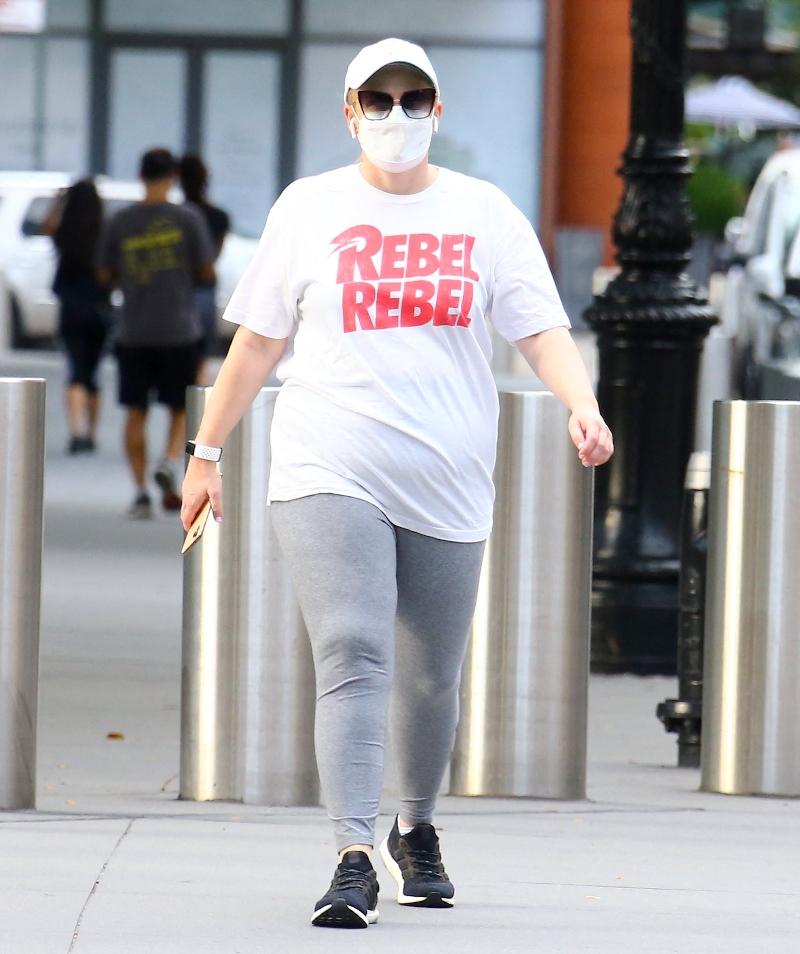 rebel wilson, leggings, sneakers, t-shirt, tee, rebel, adidas, new york