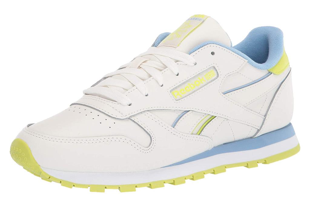 sneakers, blue, white, neon, yellow, reebok