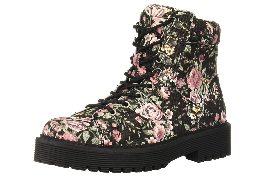 floral boots, combat boots, flowers, rocket dog