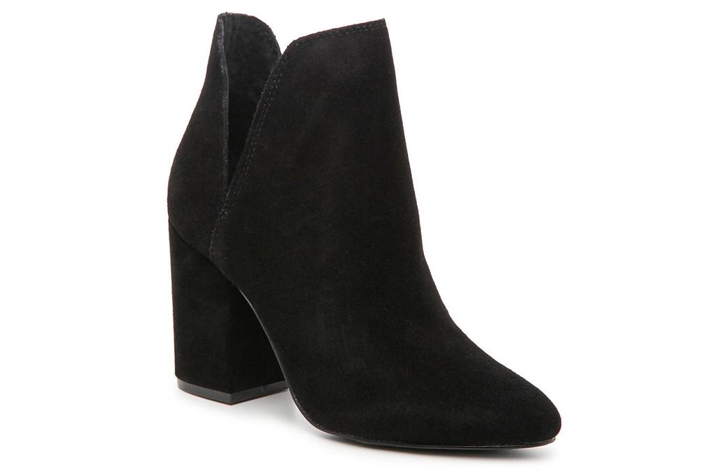 black boots, booties, suede, block heel, steve madden