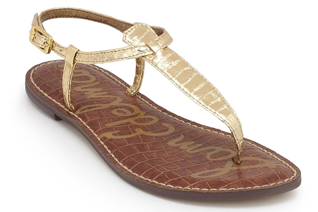 gold sandals, t strap, thong toe, gold, sam edelman