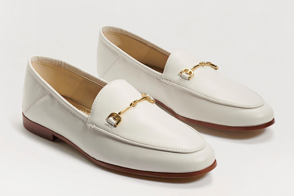 white loafers, loafers, driving shoes, gold, sam edelman